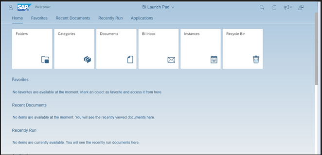 Sap BI Launchpad